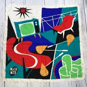 Vtg NICK AT NITE Promo Silk Scarf